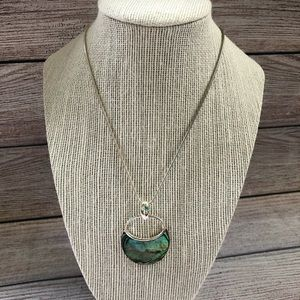Coldwater Creek Silver Necklace Abalone Pendent